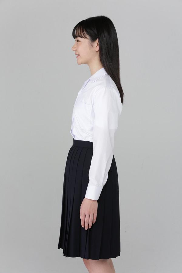 女子 長袖開衿ブラウス 形態安定 綿55% ポリエステル45%
