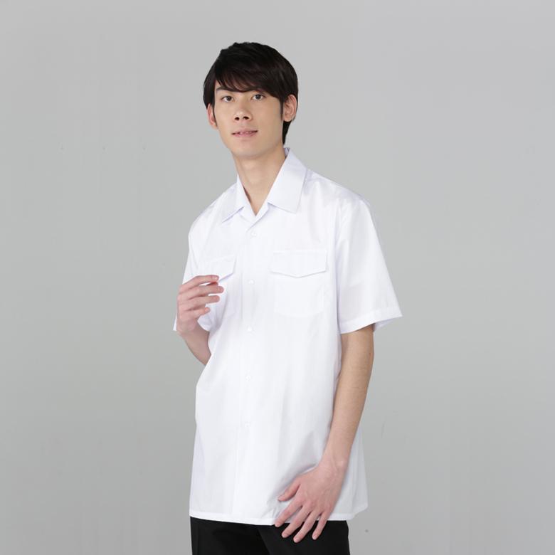形態安定 半袖開襟シャツ 両胸ふたつきポケット