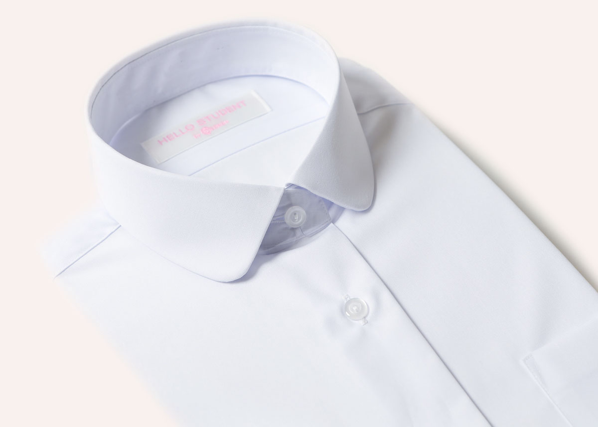 スクールシャツ 半袖 女子 丸衿 ブラウス 形態安定 白 左胸ポケット