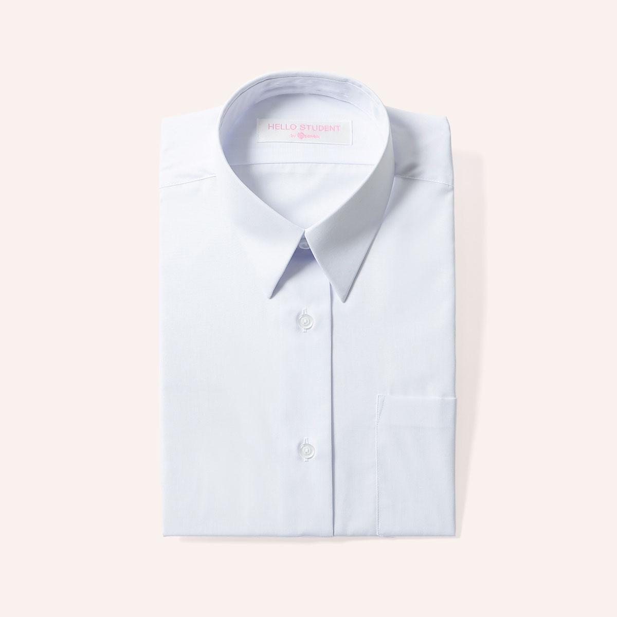 スクールシャツ 長袖 女子 角衿 ブラウス 形態安定 白 左胸ポケット
