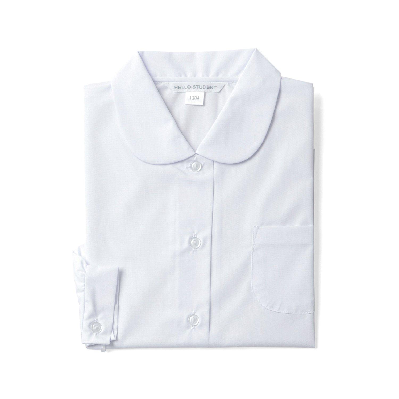 スクールシャツ 長袖 女子 学生 丸衿 ショール ブラウス 形態安定 白 左胸ポケット