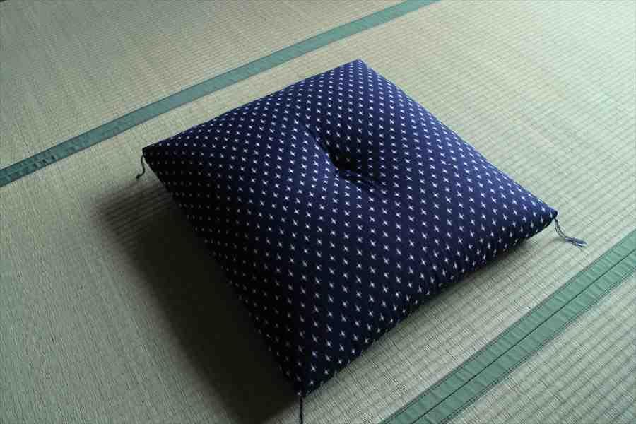 筑後織座布団 柄:クロス 柄:紺/白