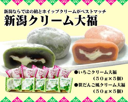 新潟クリーム大福 10個(いちご・笹だんご/各5個)