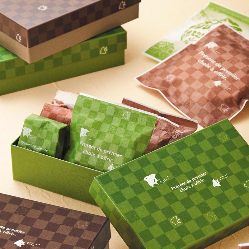 レーヨンガス袋市松千鳥50+40×150(グリーン)