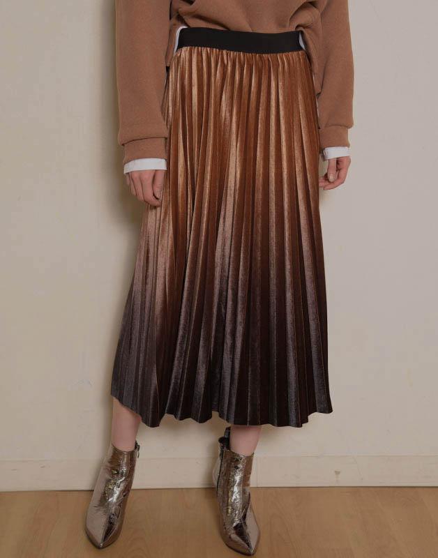 グラデーションベロアプリーツスカート