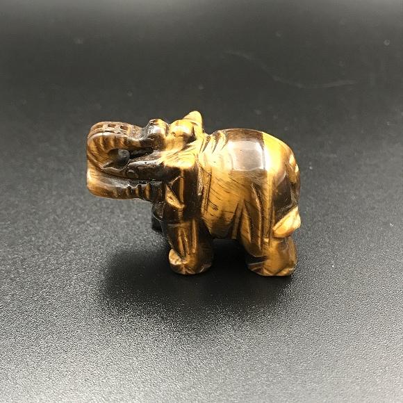 タイガーアイの子象 かわいい天然石彫刻♪ ミニカービング