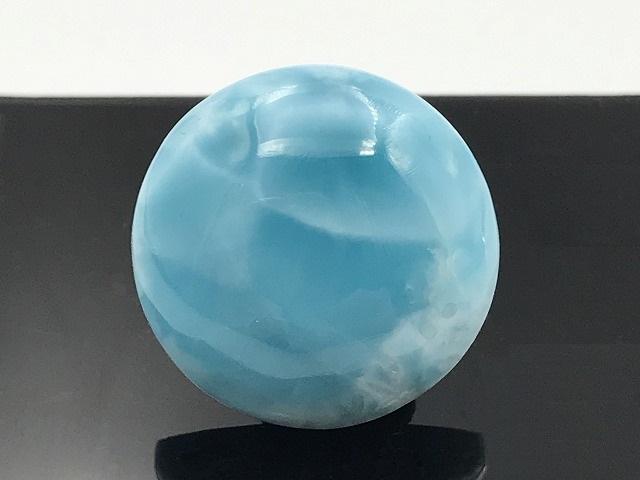 【高品質】ラリマーラウンド�  天然石ルース  カリブの青い海 透過美!