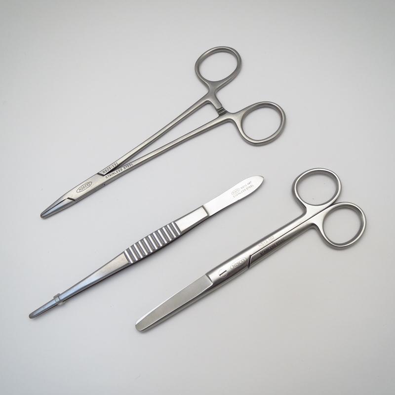 外科器具3点セット(メーヨーヘガール持針器16cm、外科ピンセット15cm、剪刀)