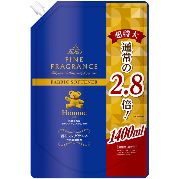 【リニューアル前商品】ファーファ ファインフレグランス柔軟剤 オム 超特大 詰替 1400ml