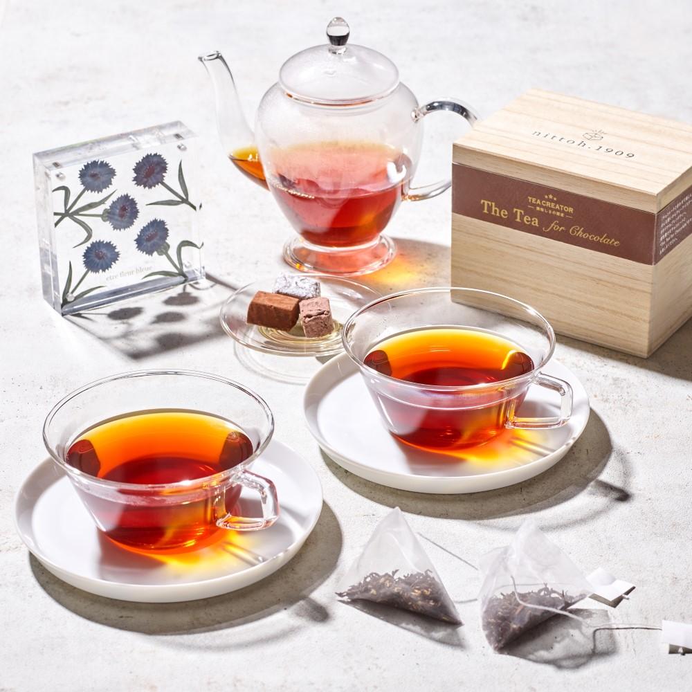 【数量限定】The Tea for Chocolate 10袋(木箱入り)× 紙の花屋 asanochiaki「コーンフラワーブルー 」