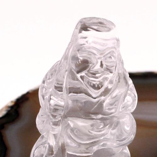 天然水晶 恵比寿 毘沙門 布袋 瑪瑙台座  4点セット〔4005〕