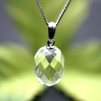 天然水晶ペンジュラム たまご型 (答えを聞いてみよう) 〔0706〕