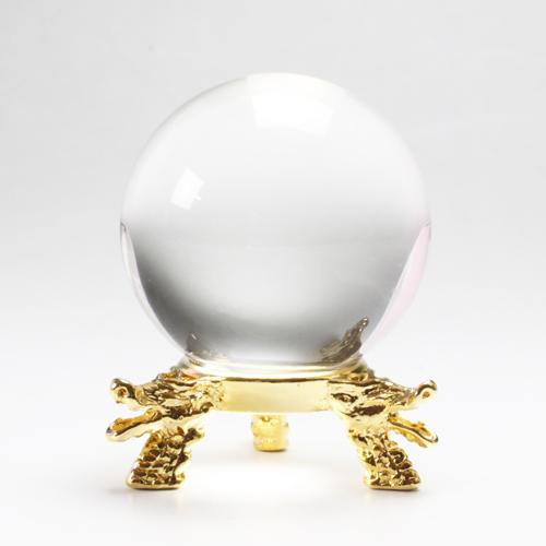 天然水晶玉 クリスタル 43-44mm 台座追加選択 最高級透明水晶 〔3366〕