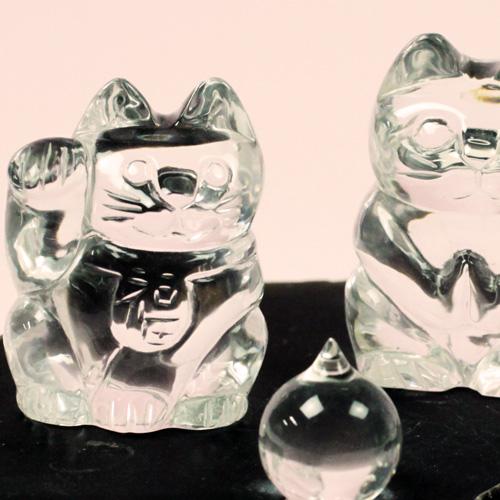 天然水晶 招き猫 10点セット 〔5149〕