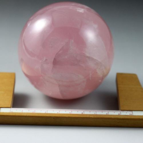 スター紅水晶玉 スターローズクオーツ丸玉 85mm(2.8寸) 870g 〔2592〕