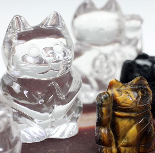 天然水晶 招き猫 10点セット 〔5337〕