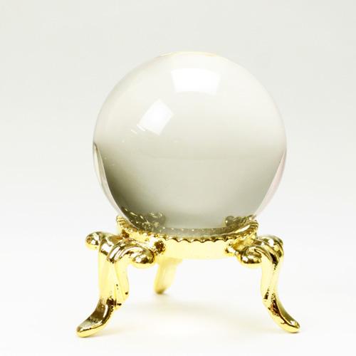 天然水晶玉  32.mm  ゴールド色水晶  右水晶 〔3636-5〕