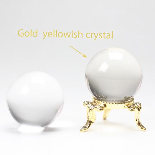 天然水晶玉  32.mm  ゴールド色水晶  左水晶 〔3636-7〕
