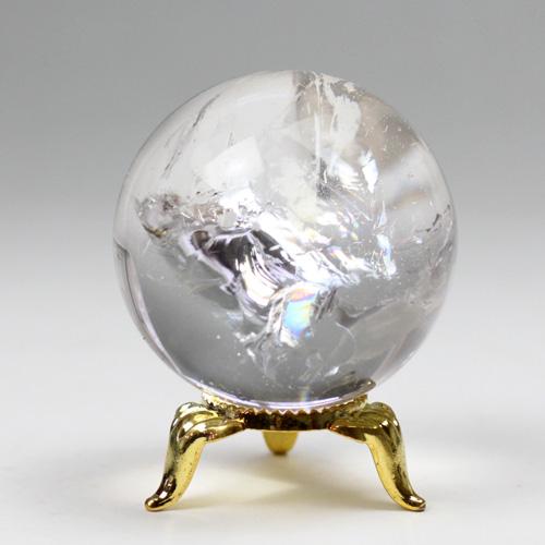 天然水晶玉 46mm 虹入り 〔5208〕