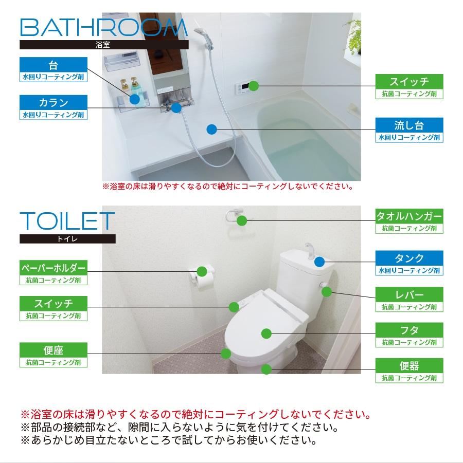 水回りコーティング 抗菌剤 セット 撥水 防汚 防錆 シンク 浴室 キッチン
