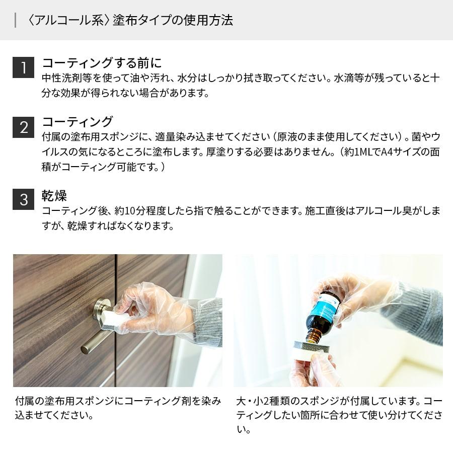 【〈アルコール系〉塗布タイプ】抗ウイルス/抗菌機能性コーティング剤 【NCV1000AA】
