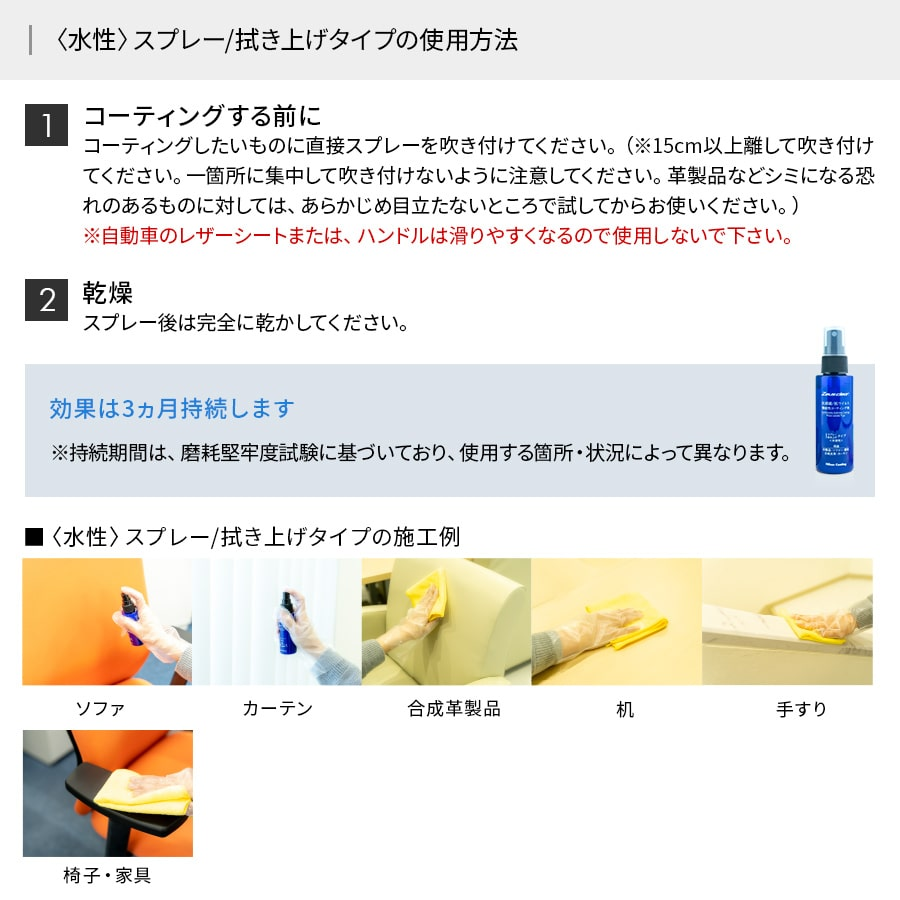 【〈水性〉 スプレー/ 拭き上げタイプ】抗ウイルス/抗菌機能性コーティング剤 【NCV1000WS】