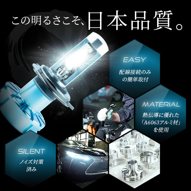 H4 軽バン・軽トラ専用 ハイスペックモデル LEDヘッドライト かんたん取付交換 5000/7000lm(ルーメン) 車検対応 2個セット【WL004K】