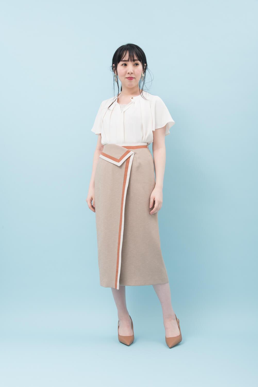 リネンライク配色スカート