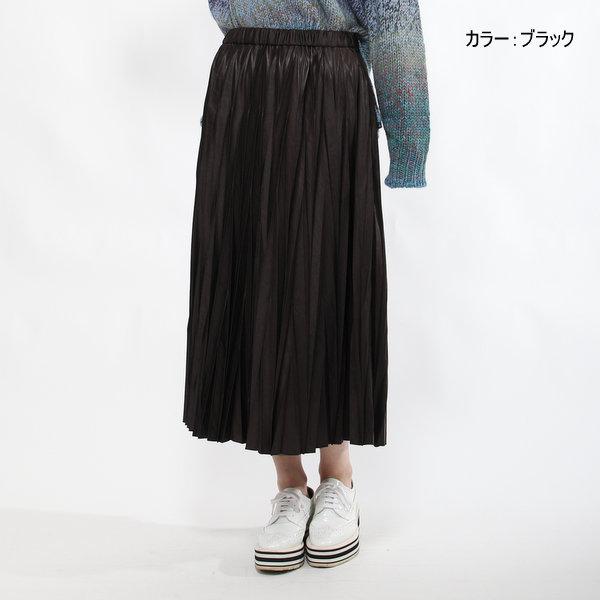 【セール70%OFF】BRAHMIN ブラーミン サテンプリーツスカート ベージュ/グレー/ブラウン 36/38 7号/9号 ファスサンファール/レディース/スカート/ランダムプリーツ/デザインプリーツ/日本製