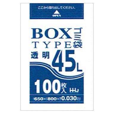 BOX入ポリ袋 45L LLDPE 0.03×650×800mm 透明 100枚×6箱入(600枚) BL43【メーカー直送・時間指定不可・沖縄、離島不可】