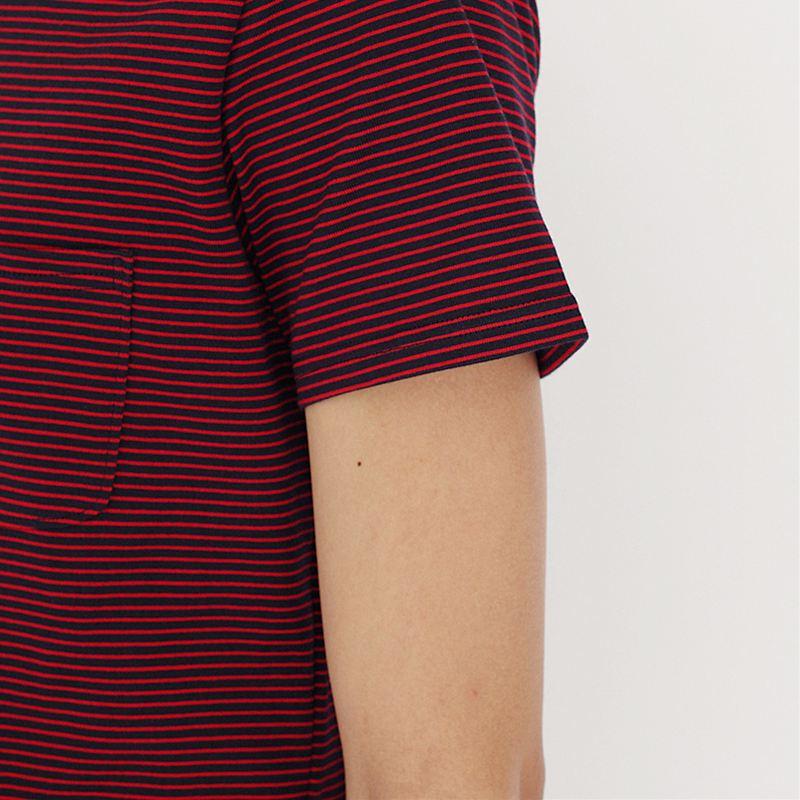 ノリコイケ ボーダーポロシャツ スキッパー ポケット付き  メンズ