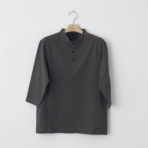 度詰め天竺ヘンリーネック7分袖Tシャツ
