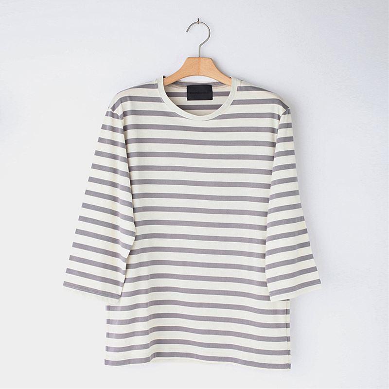 ノリコイケ ボーダーT7柄 クルーネック 七分袖 Tシャツ メンズ