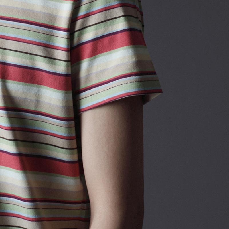 ノリコイケ マルチボーダー 浅Vネック 半袖 Tシャツ メンズ