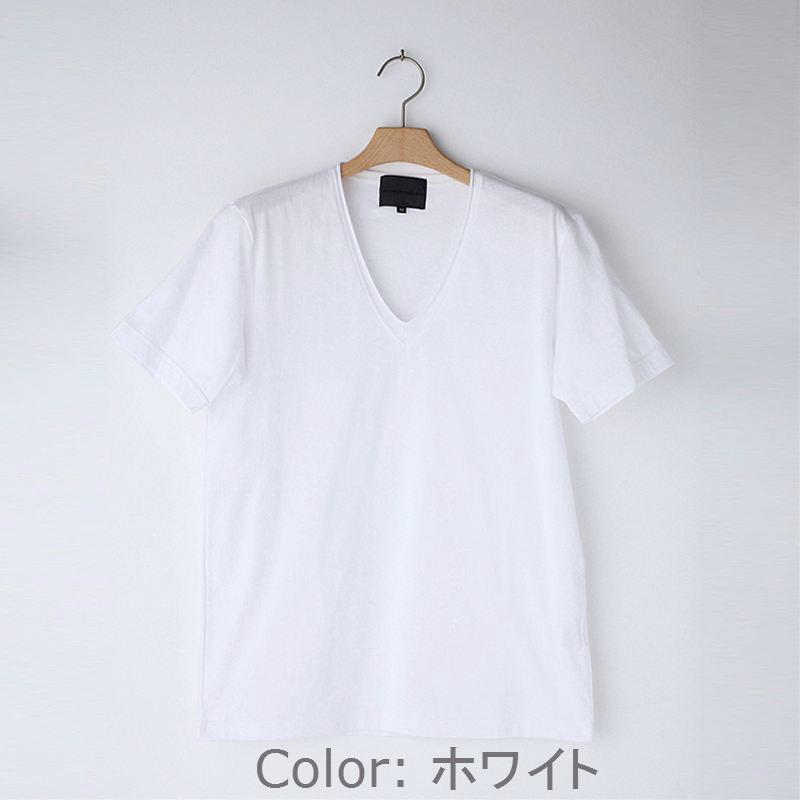 ノリコイケ 度詰め天竺 深Vネック断ち切り 半袖 Tシャツ メンズ