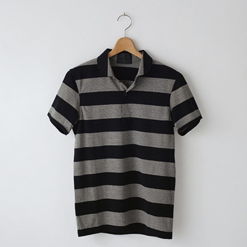 ノリコイケ クィックボーダー ポロシャツ 丸襟 メンズ