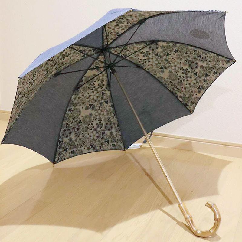 和柄デニム日傘 晴雨兼用 CHIKIRIオリジナル