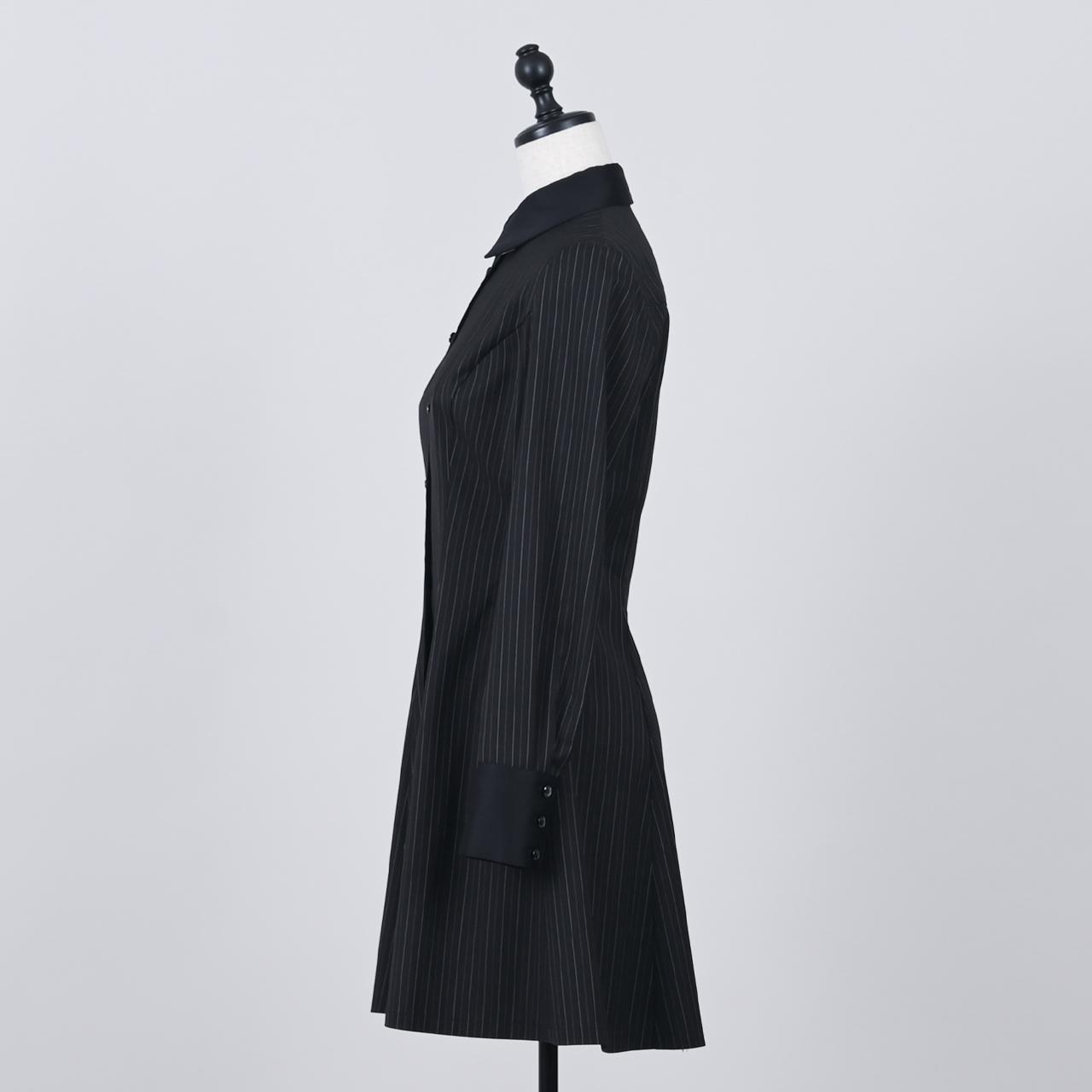 ストライプシャツワンピース ブラック
