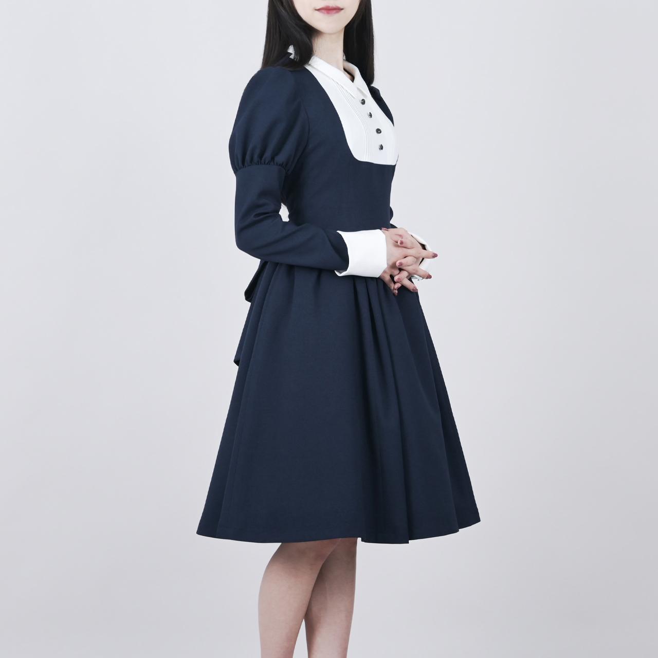 【限定】クラシックレトロワンピース ネイビー