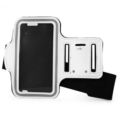 iPhone 6 サイズ調整可能 防水アームバンド イヤフォン穴・キー収納付き ホワイト