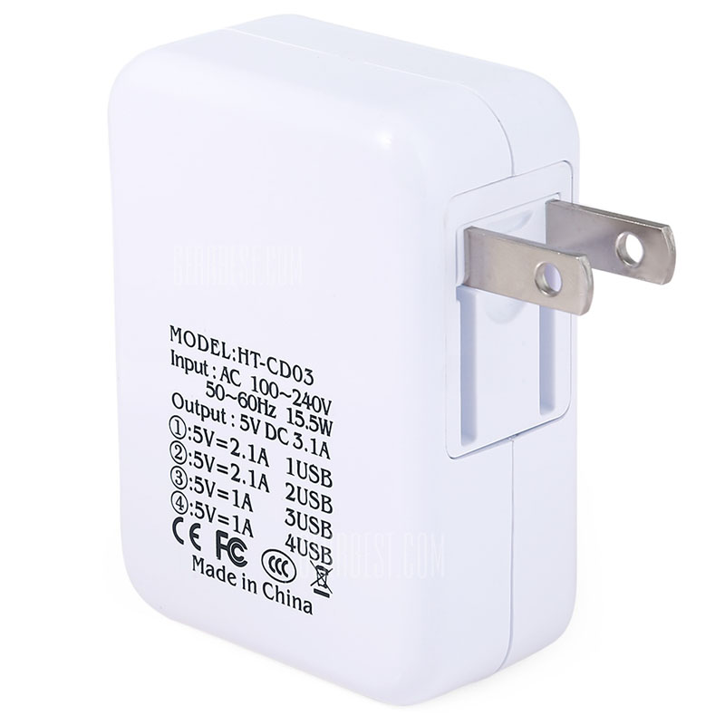 タブレット・スマホ同時給電可能 15.5W 4ポートUSB電源アダプター