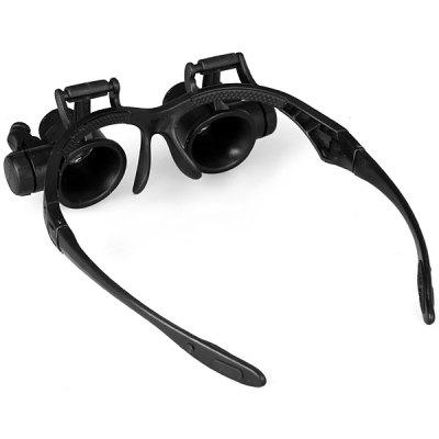 ハンズフリーで精密作業OK! LED付ヘッドルーペ メガネ式拡大鏡 10倍 15倍 20倍 25倍