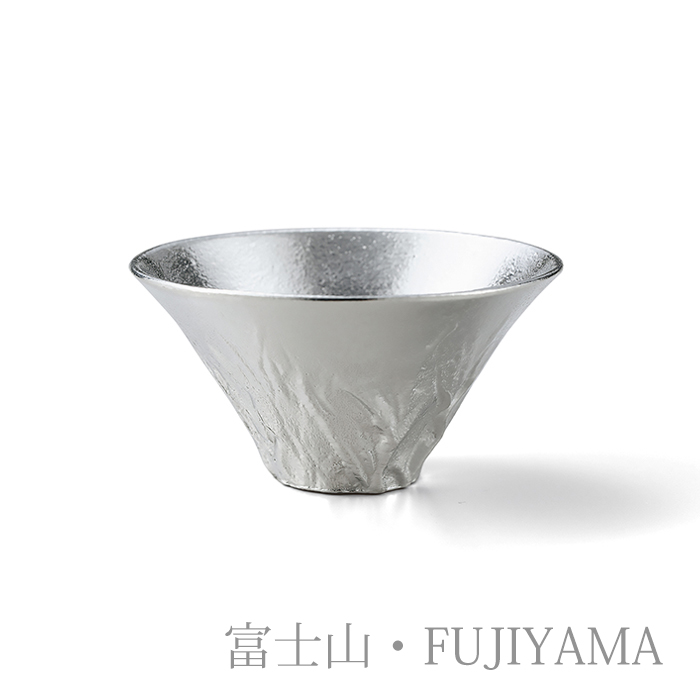 富士山ギフト(片口 - 大・富士山 錫・金箔セット:桐箱入)