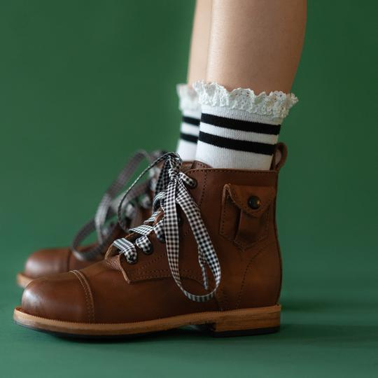 同梱限定 【Little Stocking Co.】 White with Black Stripe Lace Midi Socks 白に黒線