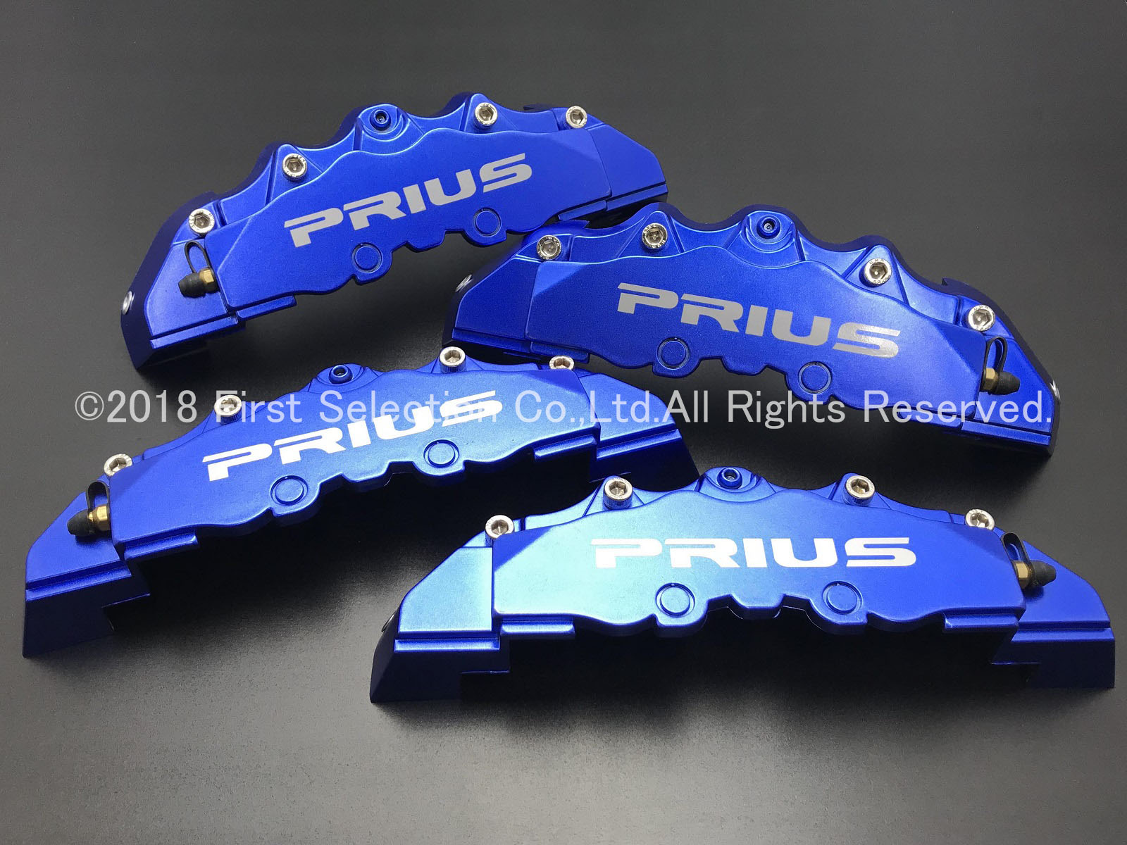 トヨタ車 PRIUSロゴ銀文字 プリウス50系専用 加工済金具付高品質キャリパーカバーM青 M/Mサイズセット