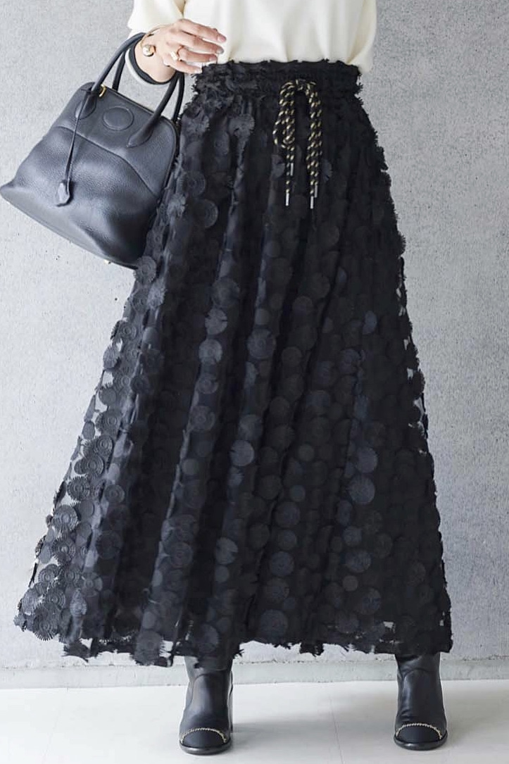 立体総レースフラワースカート/ブラック