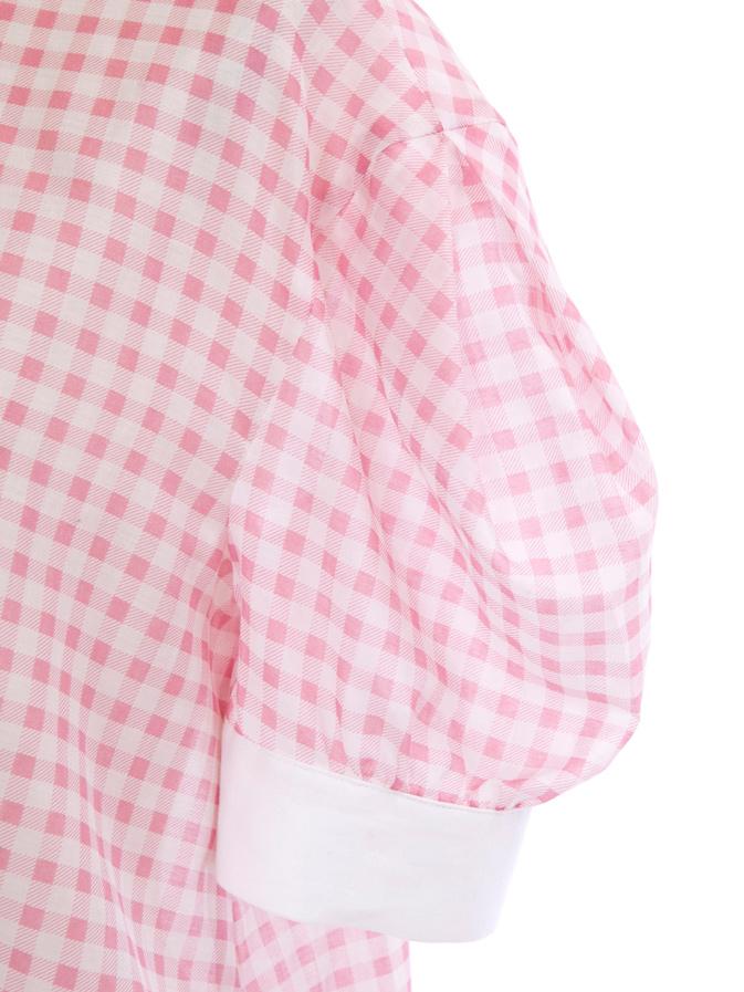 ギンガムチェックブラウス/ピンク