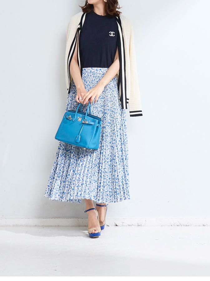 フラワープリーツスカート/ブルー