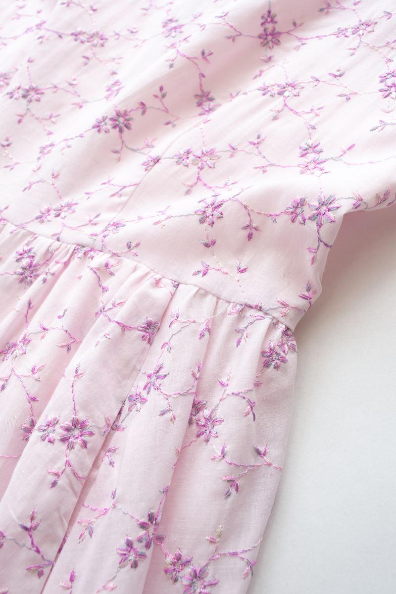 刺繍バイカラーワンピース/ピンク