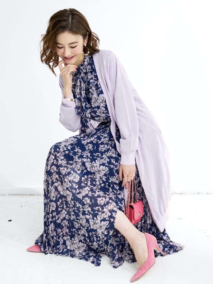シフォンプリーツスカート/ネイビー